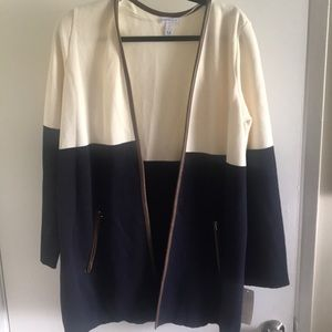 New Charter Club Cardigan with Faux Leather trim